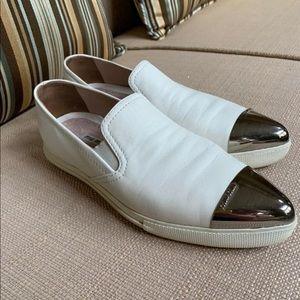 Miu Miu White Leather Slip On Sneakers